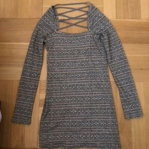 Free People long sleeve pink and grey lace dress